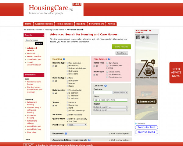 Screenshot of Search for retirement housing and care homes