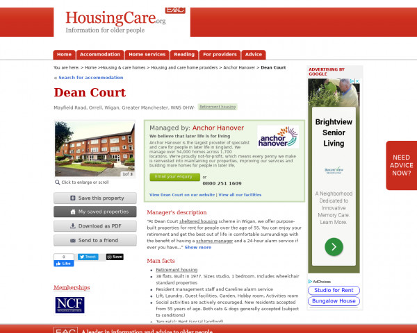 Screenshot of Dean Court, Wigan, Greater Manchester, WN5 0HW | Sheltered housing, retirement housing, supported housing for older people