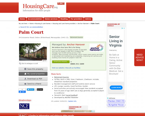 Screenshot of Palm Court, Wirral, Merseyside, CH43 1TJ | Sheltered housing, retirement housing, supported housing for older people