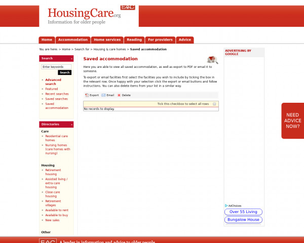 Screenshot of Saved retirement housing and care homes