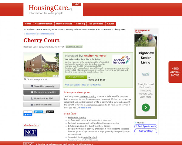 Screenshot of Cherry Court, Trafford, Greater Manchester, M33 7TW | Sheltered housing, retirement housing, supported housing for older people