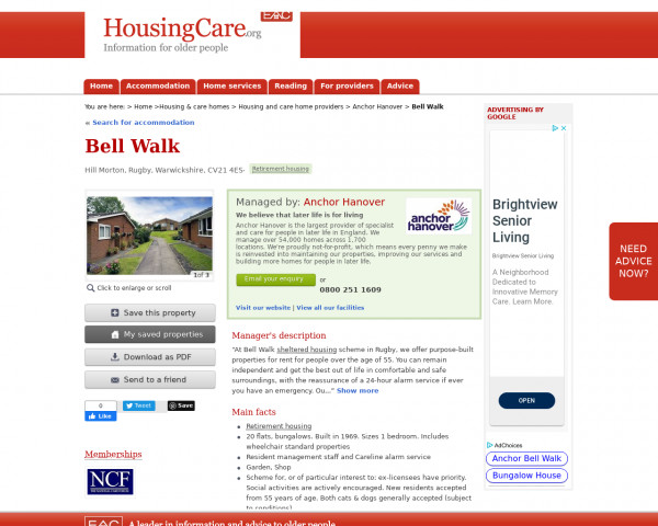 Screenshot of Bell Walk, Rugby, Warwickshire, CV21 4ES | Sheltered housing, retirement housing, supported housing for older people