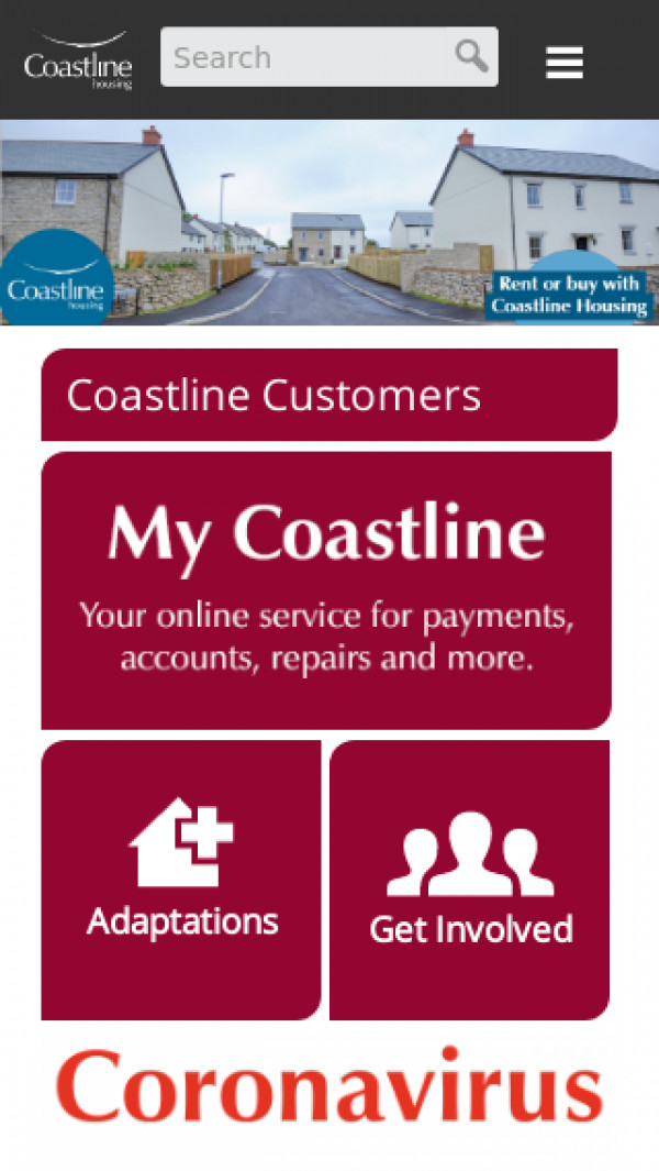 Mobile screenshot of Coastline Housing Limited website