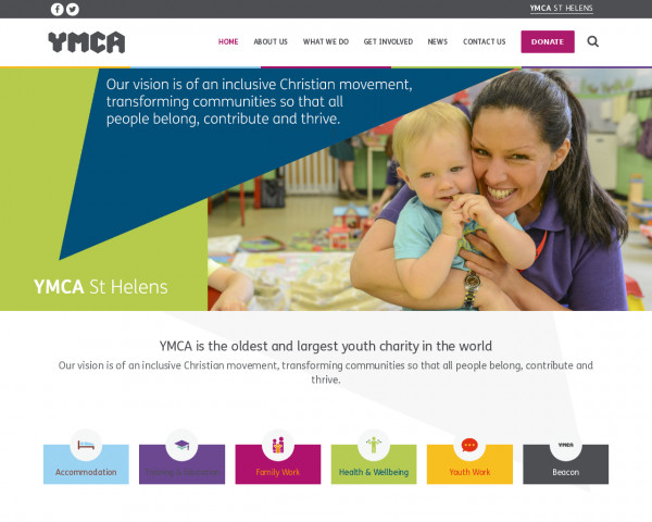 Desktop screenshot of YMCA St Helens website