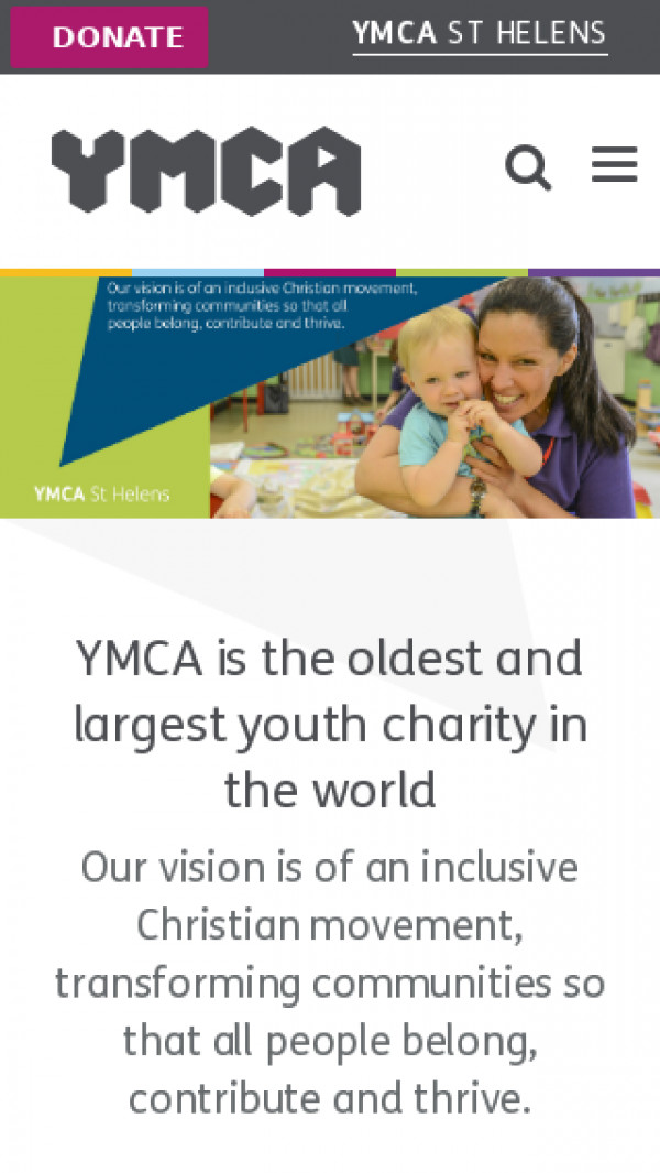 Mobile screenshot of YMCA St Helens website