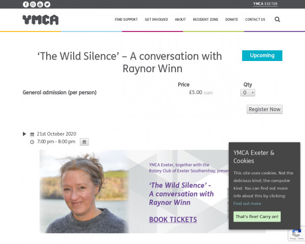 Screenshot of 'The Wild Silence' - A conversation with Raynor Winn - YMCA Exeter