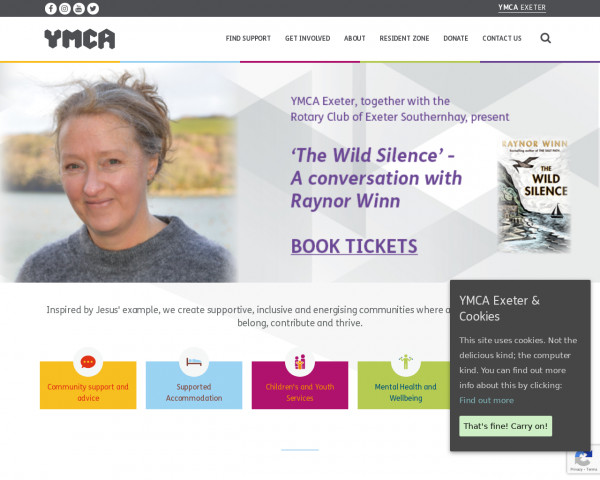 Desktop screenshot of City of Exeter YMCA website