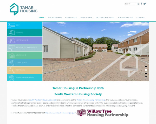 Desktop screenshot of Tamar Housing Society Limited website