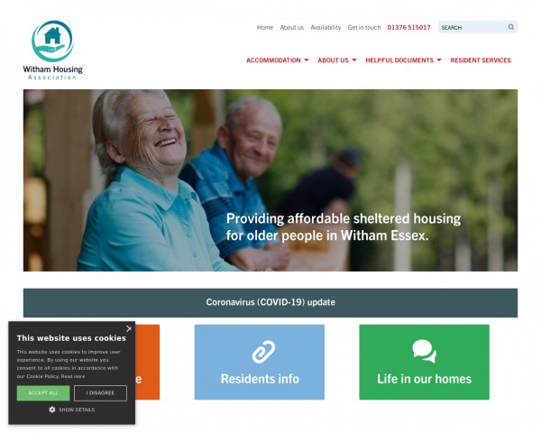 Desktop screenshot of Witham Housing Association Limited website