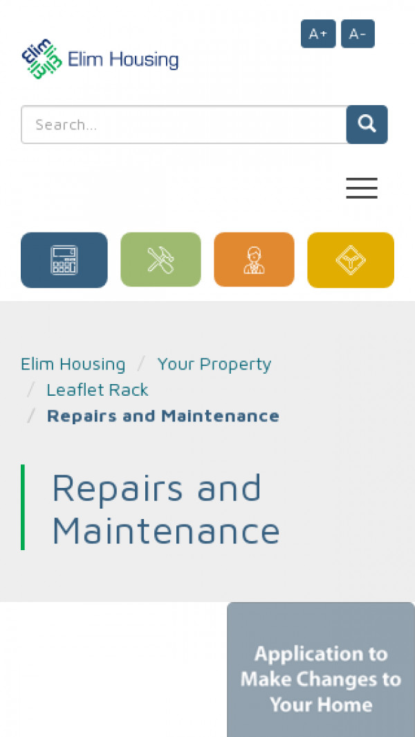 Screenshot of Elim - Home Page
