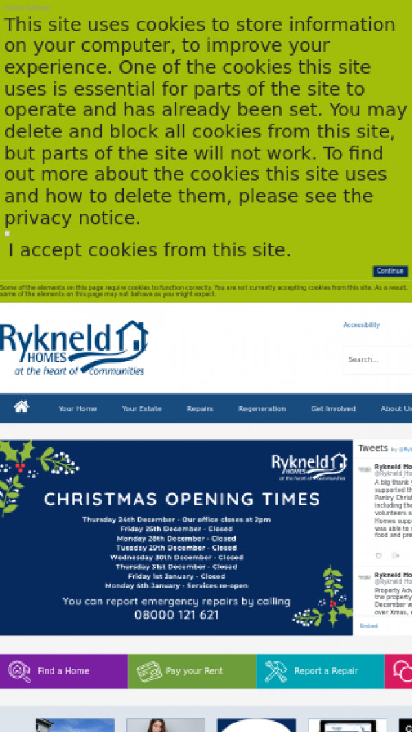Mobile screenshot of Rykneld Homes Limited website