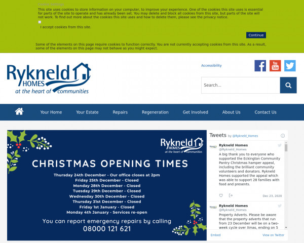 Desktop screenshot of Rykneld Homes Limited website