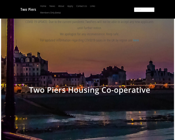 Desktop screenshot of Two Piers Housing Co-operative Limited website