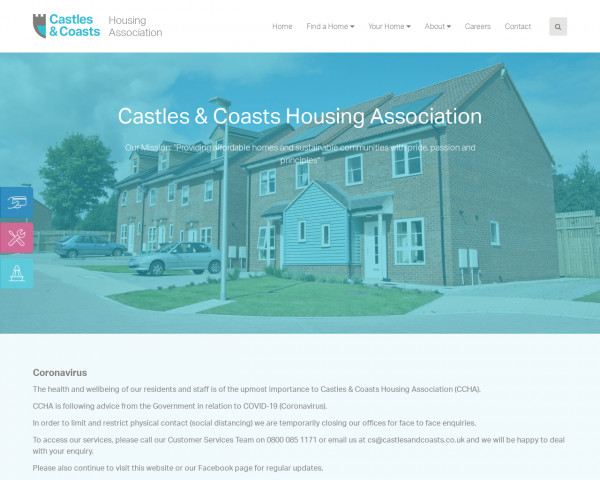Desktop screenshot of Castles & Coasts Housing Association Limited website