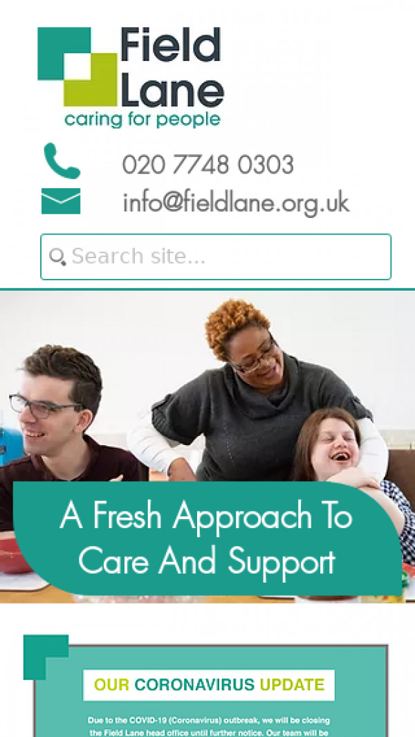 Mobile screenshot of The Field Lane Foundation website