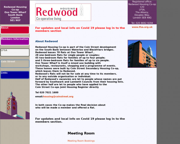 Desktop screenshot of Redwood Housing Co-operative Limited website
