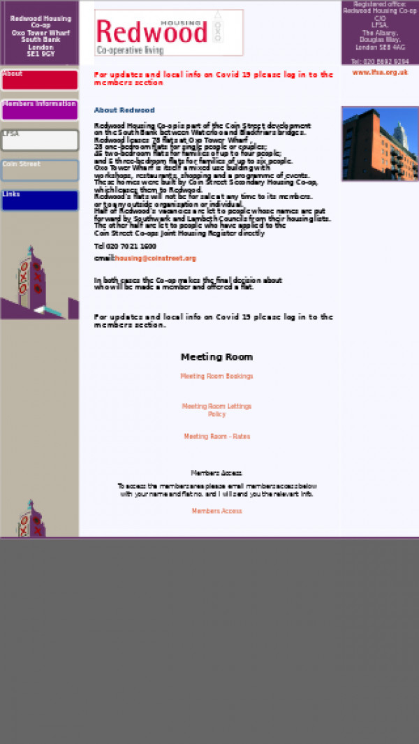 Mobile screenshot of Redwood Housing Co-operative Limited website