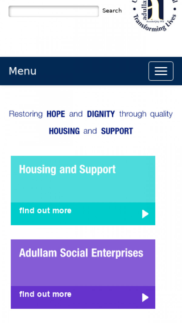 Mobile screenshot of Adullam Homes Housing Association Limited website