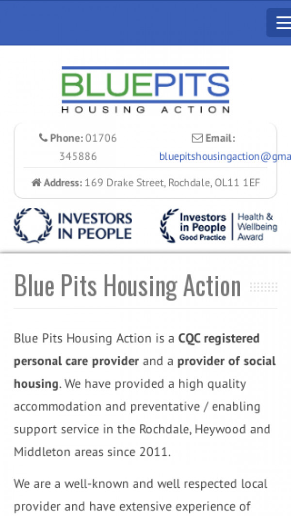 Mobile screenshot of Blue Pits Housing Action website