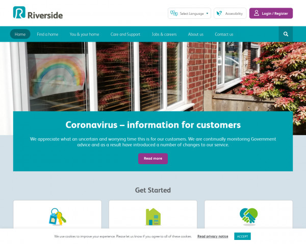 Desktop screenshot of Riverside Housing Co-operative (Redditch) Limited website