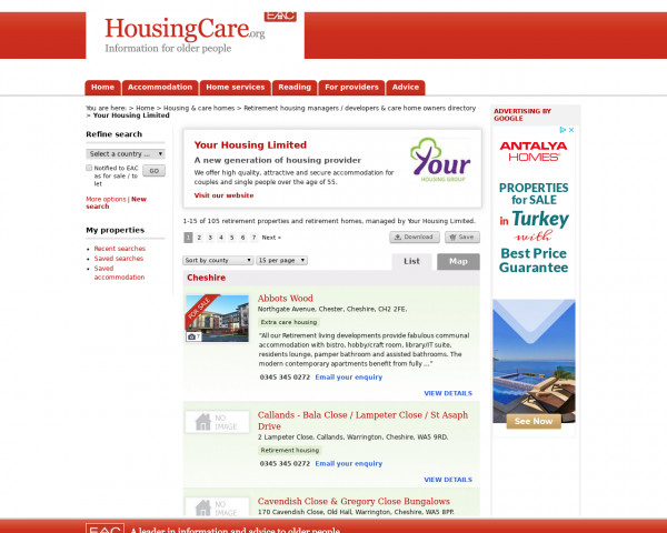 Screenshot of Your Housing Limited | Retirement properties | 1-15 of 105 homes