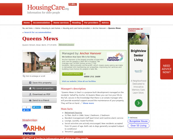 Screenshot of Queens Mews, Dover, Kent, CT14 6HA | Sheltered housing, retirement housing, supported housing for older people