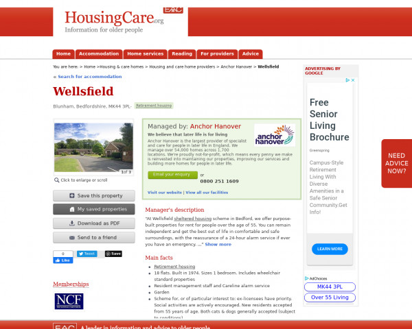 Screenshot of Wellsfield, Mid Bedfordshire, Bedfordshire, MK44 3PL | Sheltered housing, retirement housing, supported housing for older people