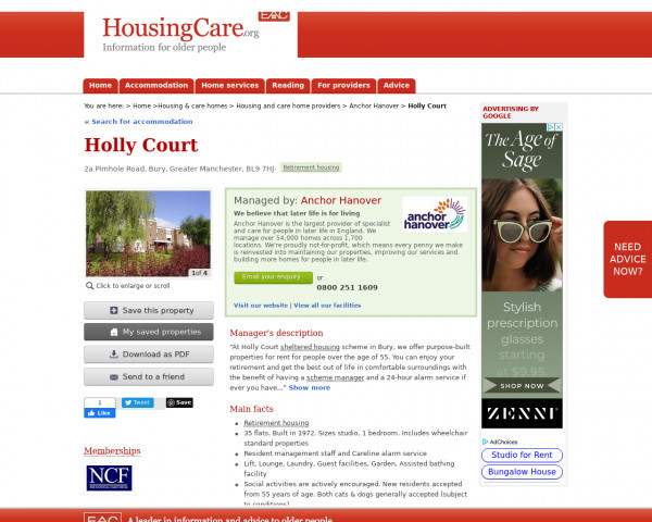 Screenshot of Holly Court, Bury, Greater Manchester, BL9 7HJ | Sheltered housing, retirement housing, supported housing for older people
