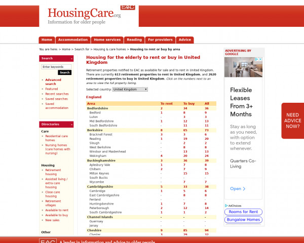 Screenshot of Sheltered housing and retirement flats to rent