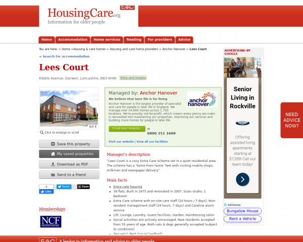 Screenshot of Lees Court, Blackburn with Darwen, Lancashire, BB3 0HW | Housing with care, assisted living, close care, continuing care housing