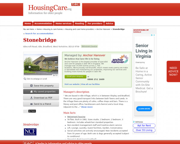 Screenshot of Stonebridge, Bradford, West Yorkshire, BD10 9TW | Sheltered housing, retirement housing, supported housing for older people