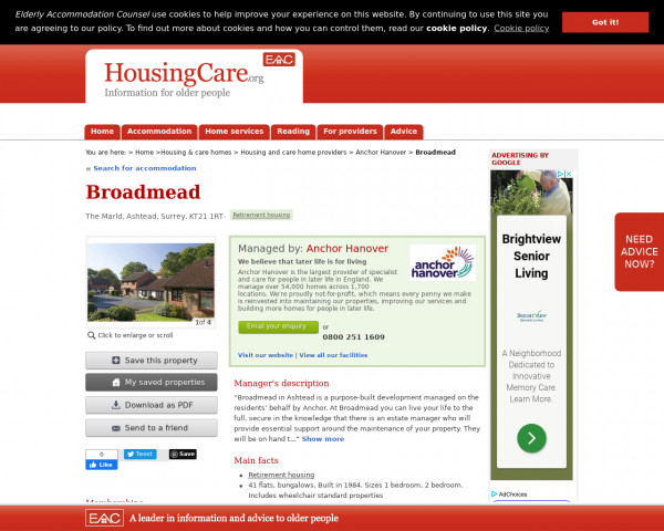 Screenshot of Broadmead, Mole Valley, Surrey, KT21 1RT | Sheltered housing, retirement housing, supported housing for older people