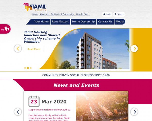 Desktop screenshot of Tamil Community Housing Association Limited website