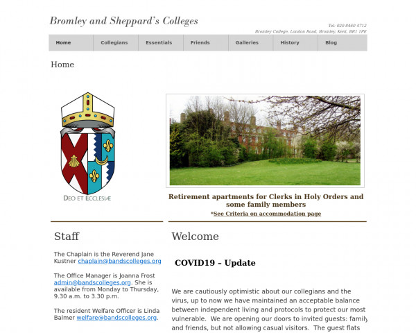 Desktop screenshot of Bromley and Sheppard's Colleges Charity website