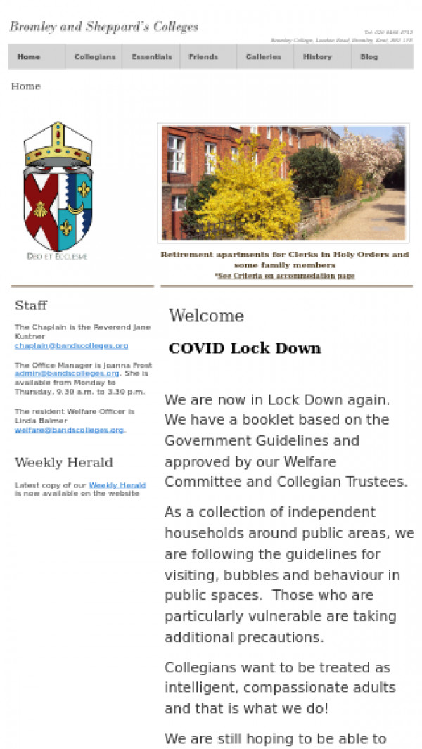 Mobile screenshot of Bromley and Sheppard's Colleges Charity website