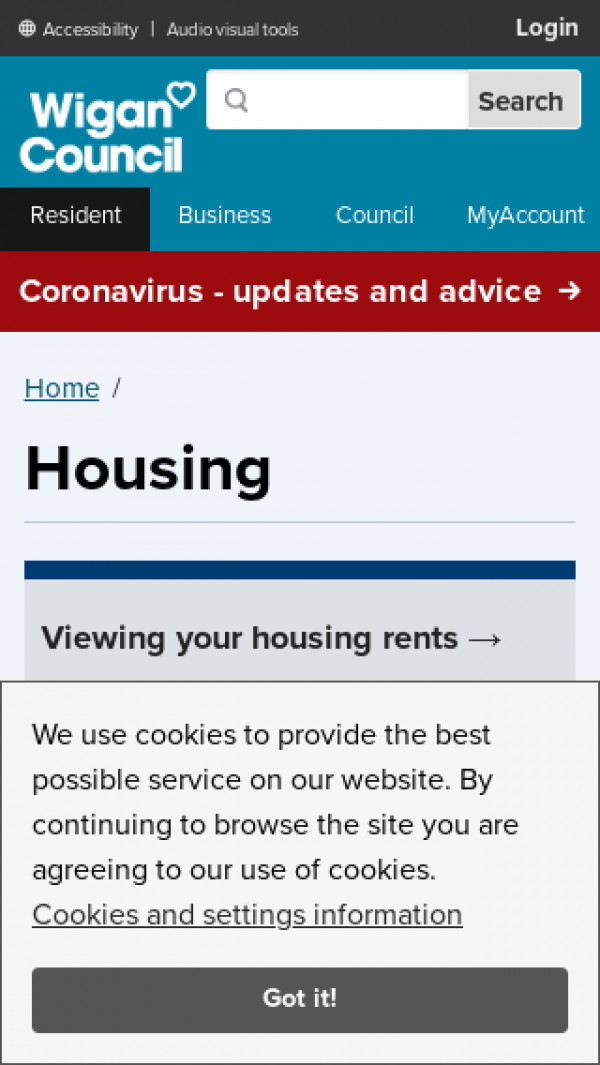 Mobile screenshot of Wigan Housing website