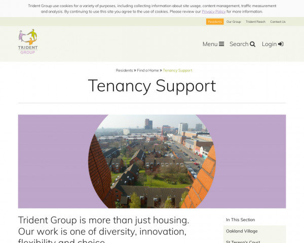 Screenshot of Trident Group | Tenancy Support