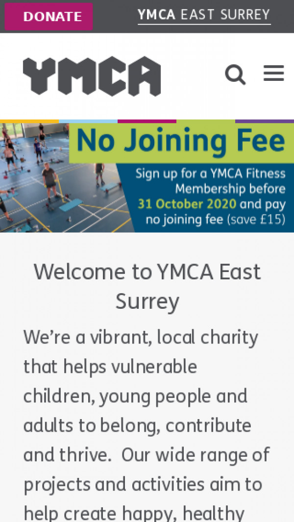 Mobile screenshot of YMCA East Surrey website