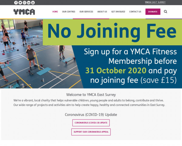 Desktop screenshot of YMCA East Surrey website