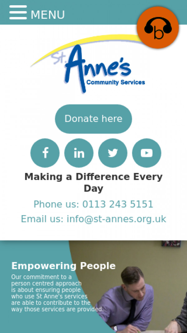 Mobile screenshot of St Annes Community Services website