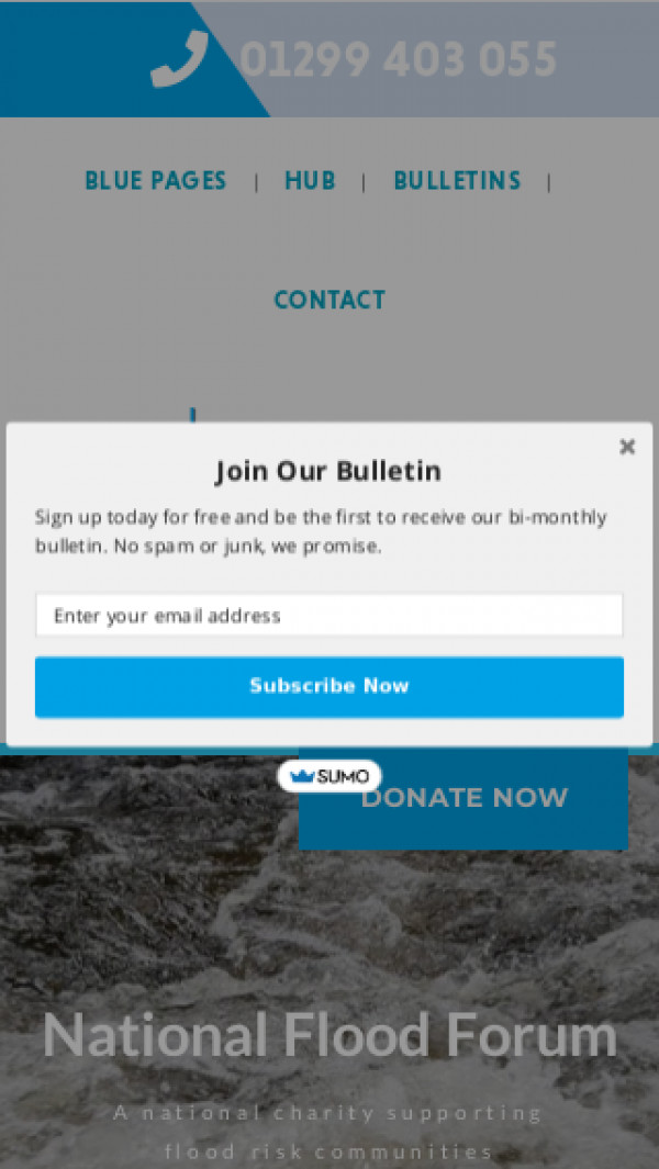 Mobile screenshot of The Flood Charity website