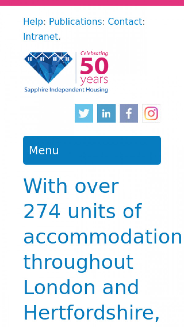 Mobile screenshot of Sapphire Independent Housing Limited website