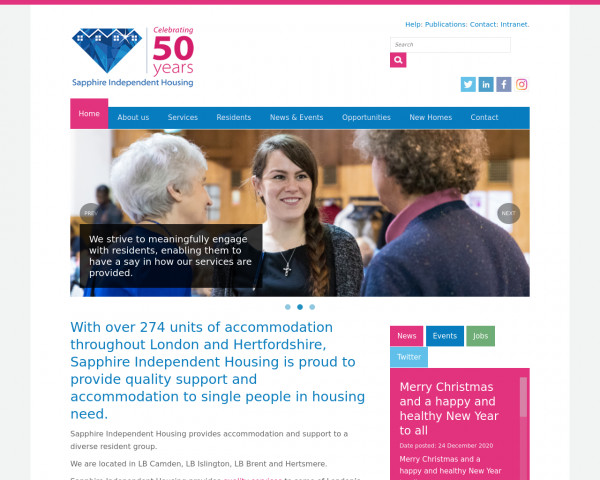Screenshot of Sapphire Independent Housing. | With over 274 units of accommodation throughout London and Hertfordshire, Sapphire Independent Housing is proud to provide quality support and accommodation to single people in housing need.