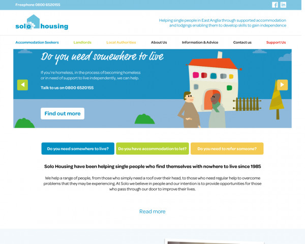 Desktop screenshot of Solo Housing (East Anglia) Limited website