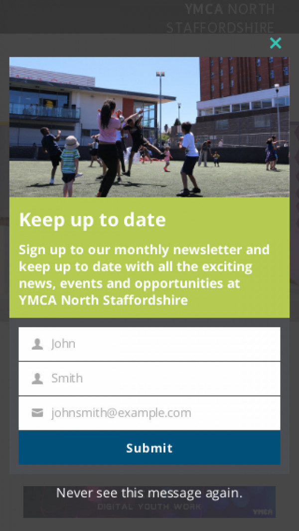 Mobile screenshot of Stoke on Trent & North Staffordshire YMCA Foyer website
