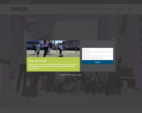 Desktop screenshot of Stoke on Trent & North Staffordshire YMCA Foyer website