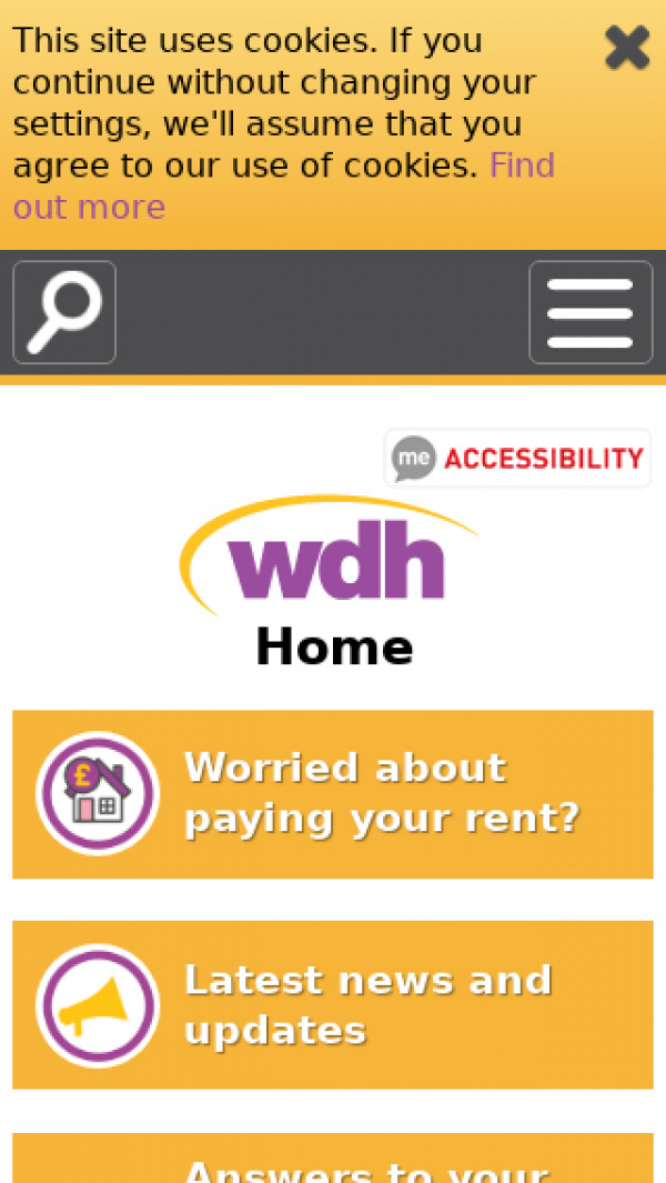 Mobile screenshot of Wakefield And District Housing Limited website