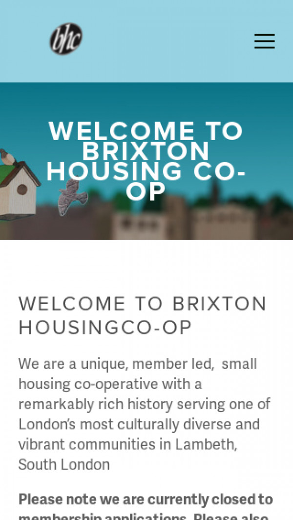 Mobile screenshot of Brixton Housing Co-operative Limited website