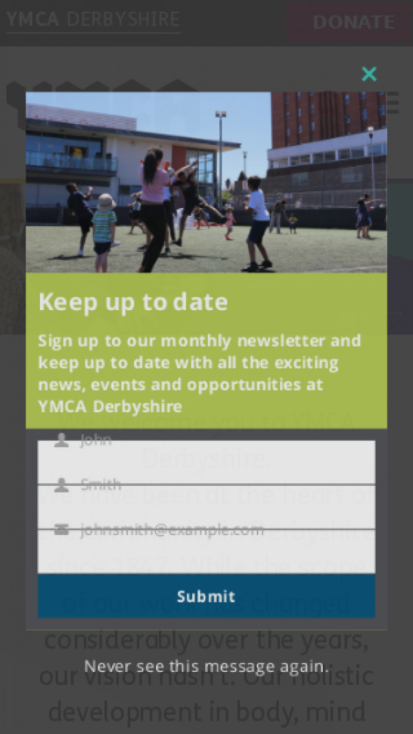 Mobile screenshot of YMCA Derbyshire website