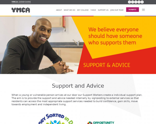 Screenshot of Support and Advice - YMCA Derbyshire